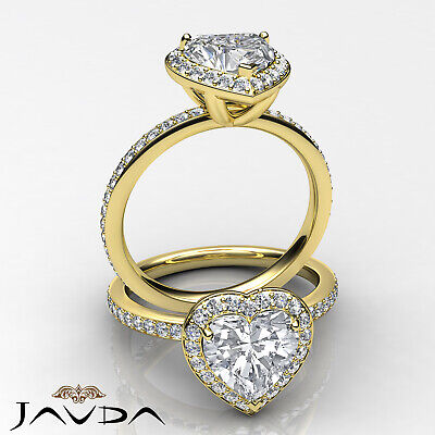 2 ct Halo Pave Heart Diamond Engagement Brilliant Ring 14K White Gold F SI1 GIA 7