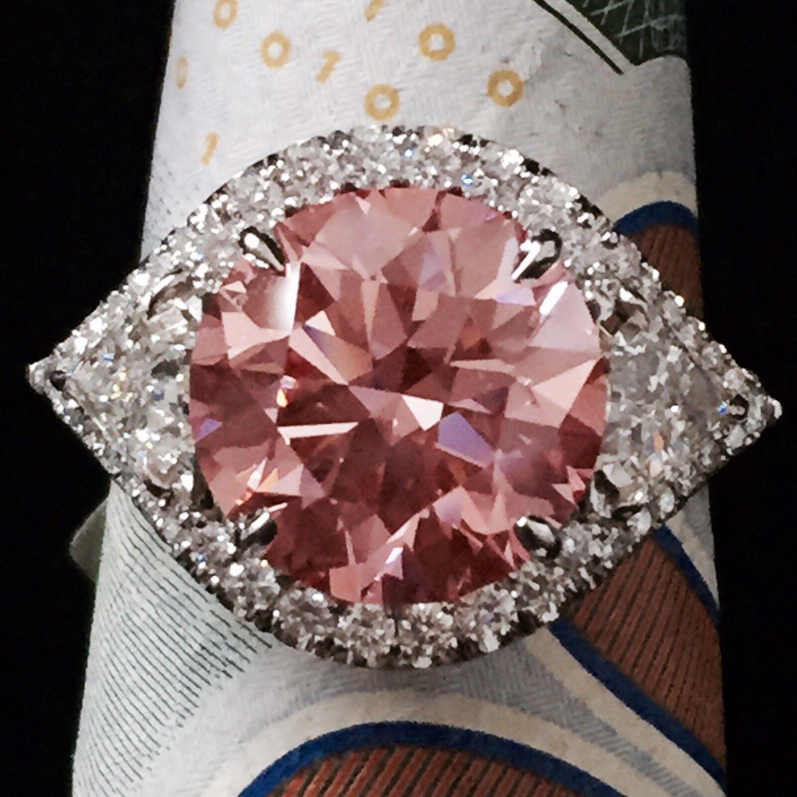7.05 CARAT VS GIA FANCY PINK ROUND CUT DIAMOND HALO ENGAGEMENT RING 950 PLATINUM