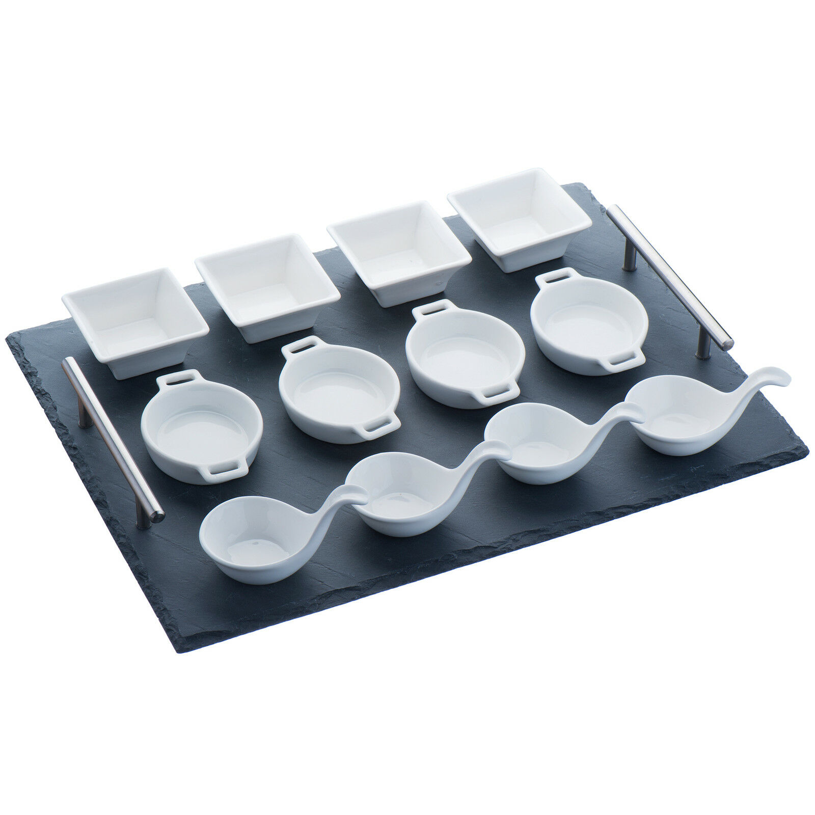 vonshef 13 piece tapas canape slate serving tray with dish