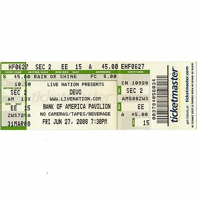DEVO & TOM TOM CLUB Concert Ticket Stub BOSTON MA 6/27/08 BOA PAVILION WHIP IT