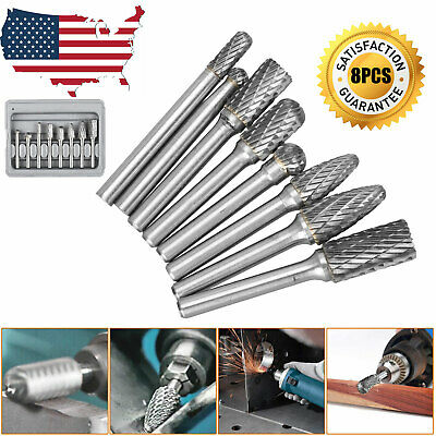8pcs Tungsten Carbide Burrs Rotary Burr Set Head 14 Shank Die Grinder Bit Us