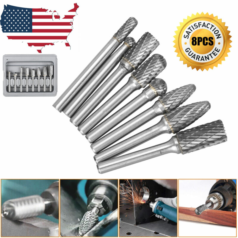 8Pcs Tungsten Carbide Burrs Rotary Burr Set Head 1/4