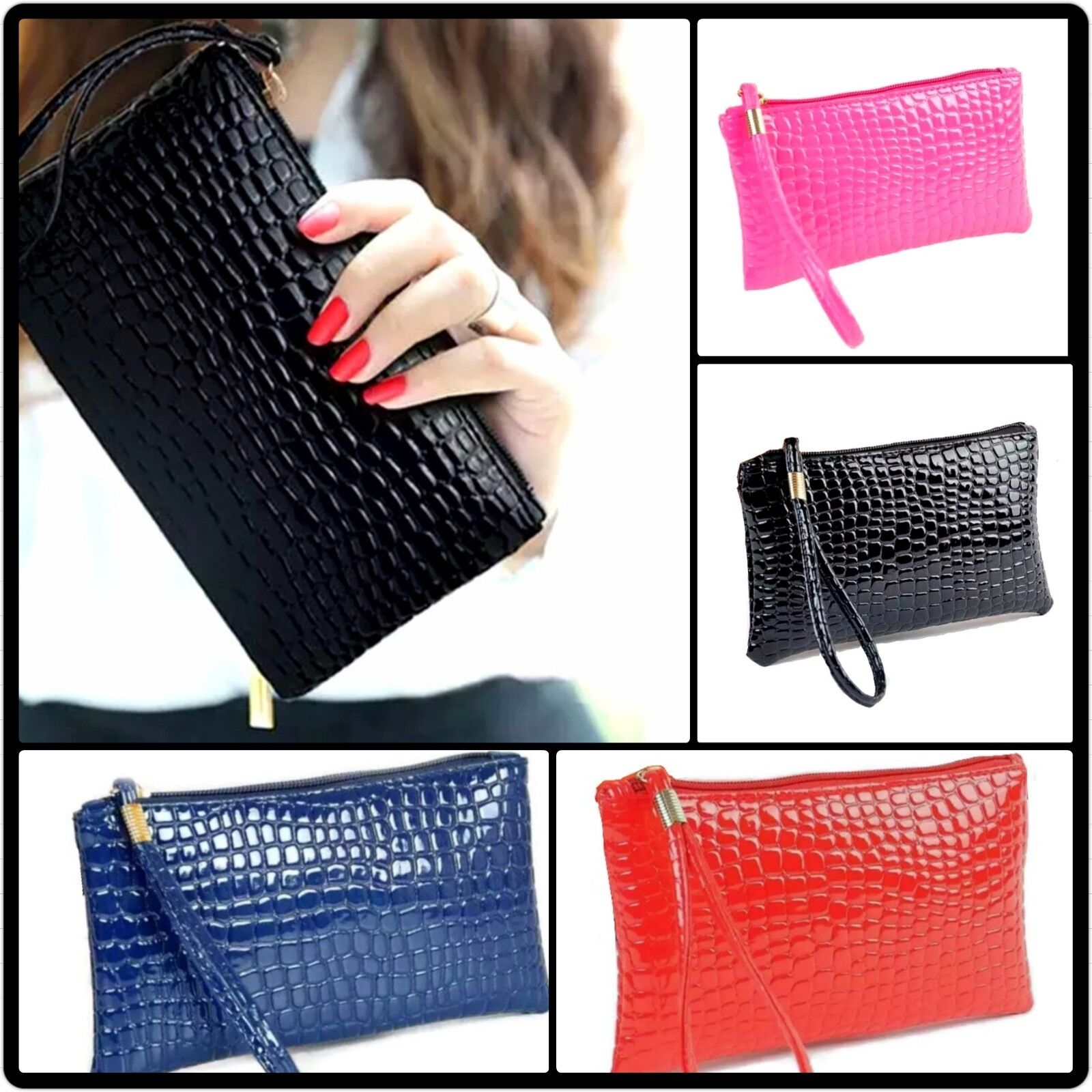 Damen Clutch Tasche Klein Mini Handtasche Geldbeutel Kroko Blau Rosa Schwarz Rot