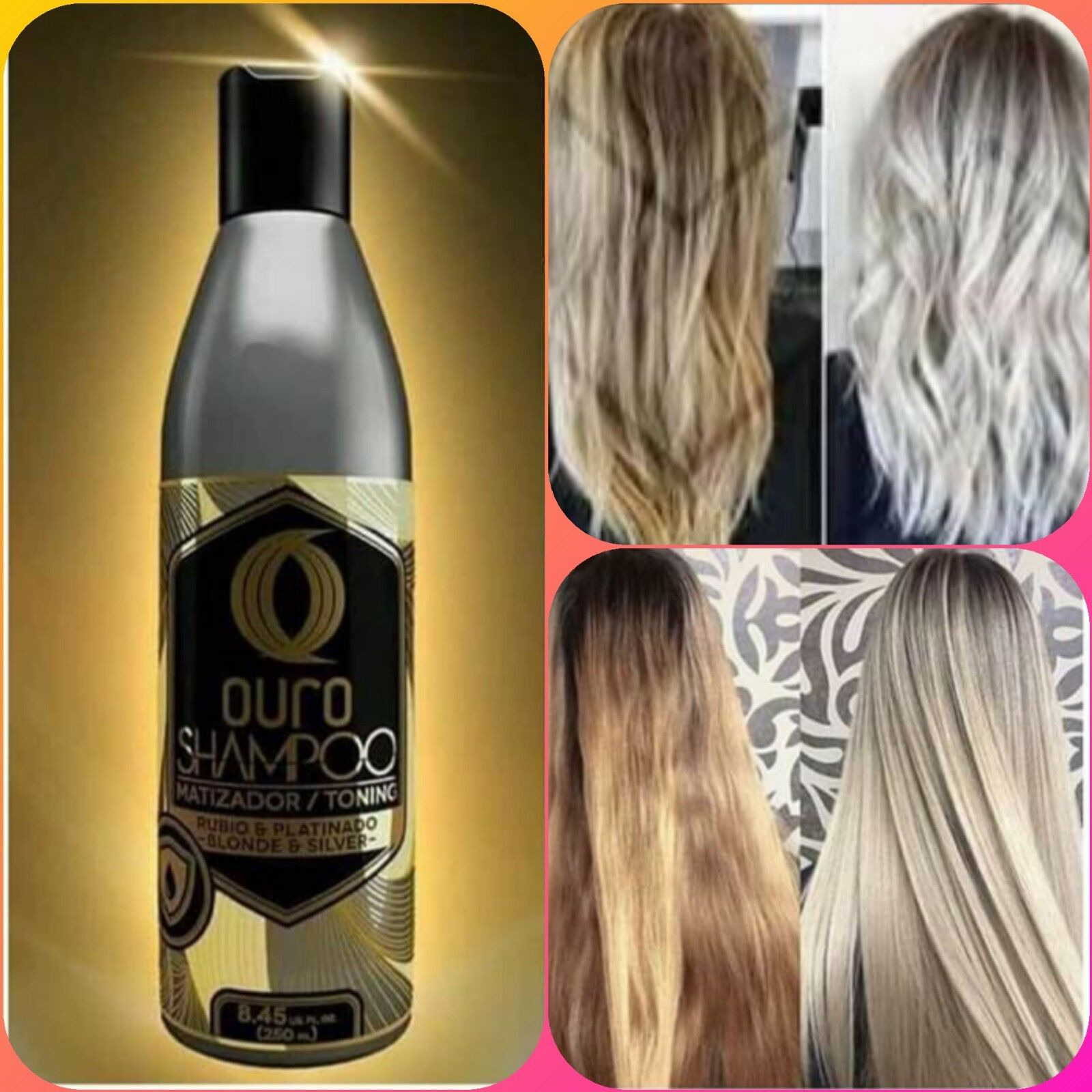 PURPLE OURO TONING SHAMPOO FOR BLONDE & SILVER HAIR 8.45oz