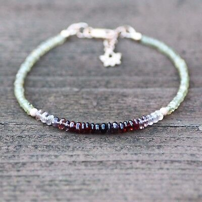 Purple Burgundy Spinel and Champagne Sapphire Bracelet Rose Gold Filled (Champagne Gold And Purple)