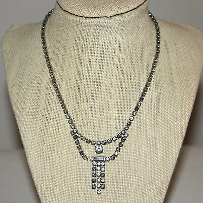 1950s Jewelry Styles and History Vintage 1950s 1960s Dangling Rhinestone Necklace Light & Dark Stones $11.99 AT vintagedancer.com