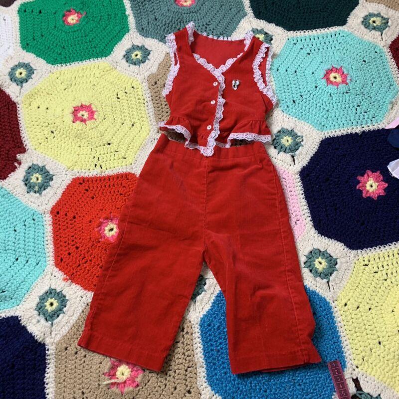 Vintage 60s Red 2pc Set Vest / Pants Corduroy Retro Funky Lace Trim