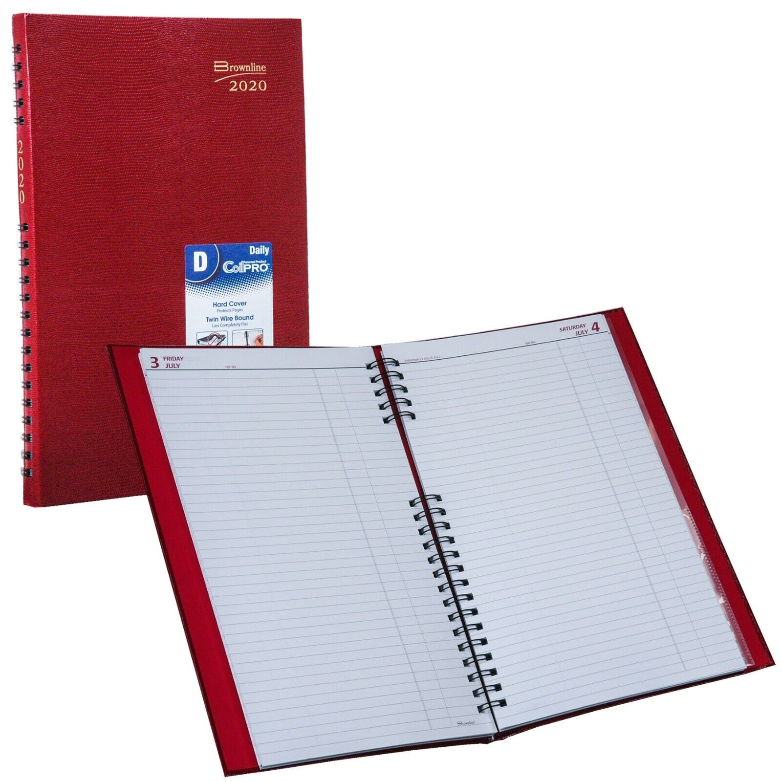2020 Brownline C551C.RED CoilPRO Daily Planner, Hard Cover,