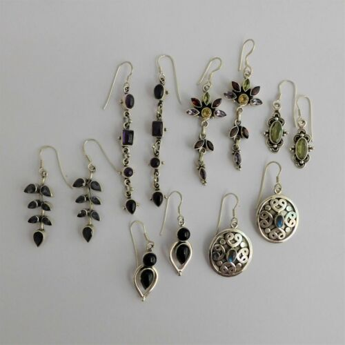 Wholesale 6 pairs Assorted Earrings with Gemstones 925 Sterling Silver Women