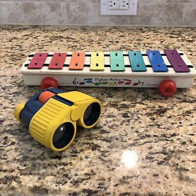 Vintage 1964 Fisher Price Wooden Pull-A-Tune Xylophone Toy #870 + Binoculars