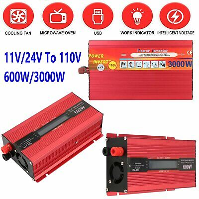 3000Watt Peak Power Inverter DC 12V/24V to 110V AC Converter Adapter covid 19 (Dc Peak Power Charger coronavirus)