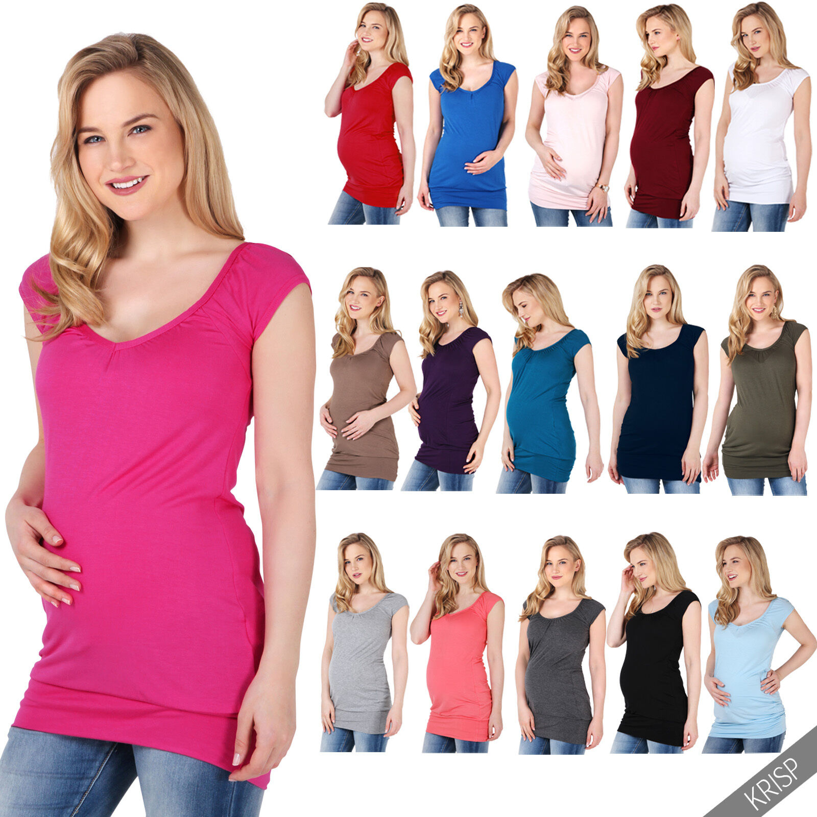 Maternity Stretch Top Long Loose T Shirt Tee Vest Pregnancy Women Plus Blouse