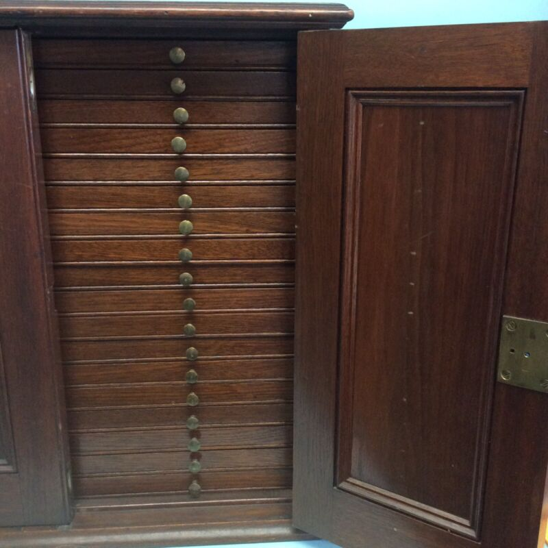 """Collector's Cabinet Mahogany 2 Door 18 Drawer 20 1/4"""" Wide"""