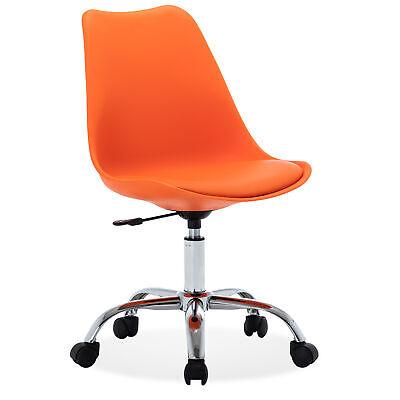 Armless Mid-back Chair Upholstery Adjustable Swivel Office Desk Chair Orange