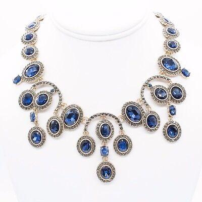 Signed Oscar De La Renta Sapphire Blue Chandelier Crystal Gold Necklace