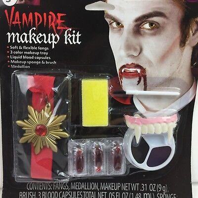 Halloween Vampire Makeup Kit Count Dracula Fangs Medallion Blood Cosplay Costume