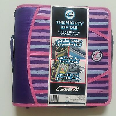 Case-it Zipper Mighty Zip Tab 3 Binder 3 - O Rings 5 Color Expanding File New