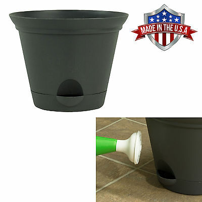 Flat Gray Self Watering Plastic Planters Flare Flower Pot in 7, 10 and 12 Inch ()