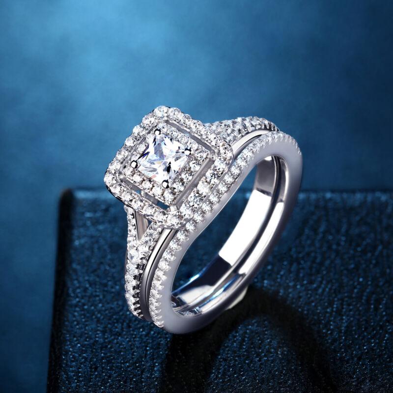 Newshe Wedding Bands Engagement Ring Set 925 Sterling Silver Princess Cz Blue