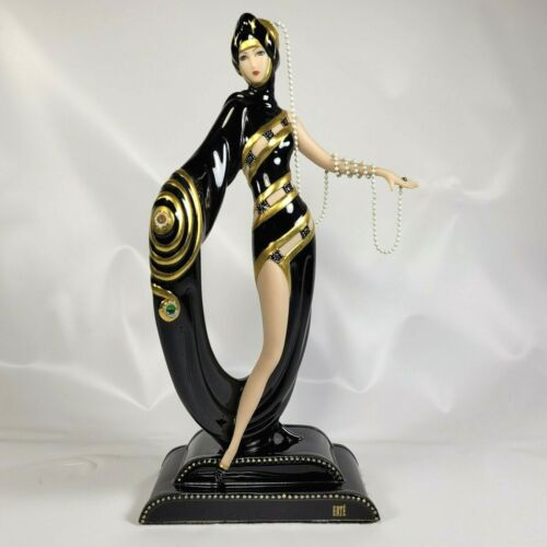 Franklin Mint House of Erte Pearls and Emeralds Art Deco Woman Figurine M8870