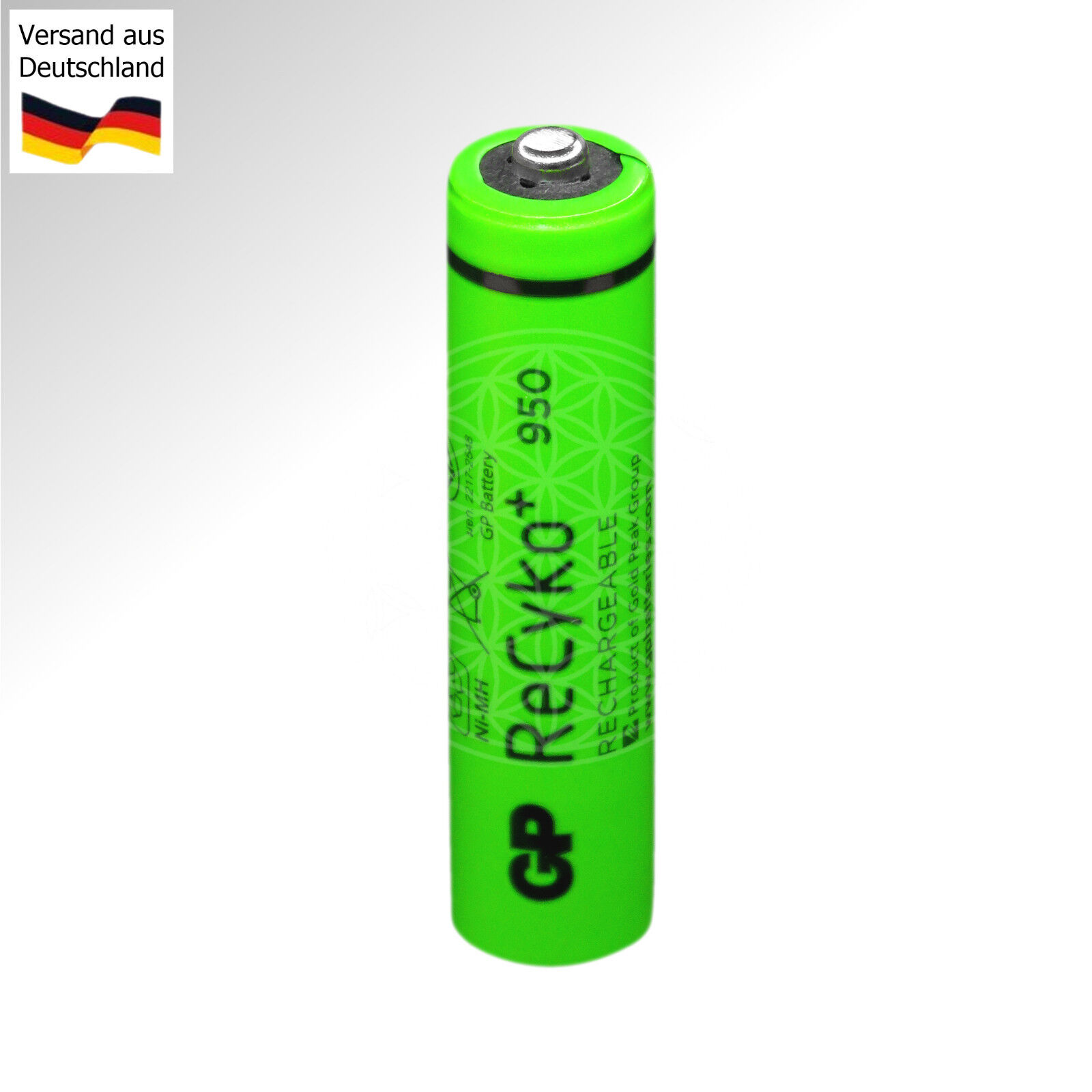 GP Recyko+ Rechargeable Nickel Metallhydrid Accu Ni-MH 1,2 Volt 1.2V 950mAh 2000