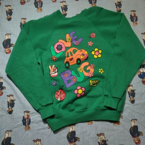 Vintage Tultex LOVE BUG Hippie Green Sweatshirt YOUTH LARGE Crewneck USA 50/50