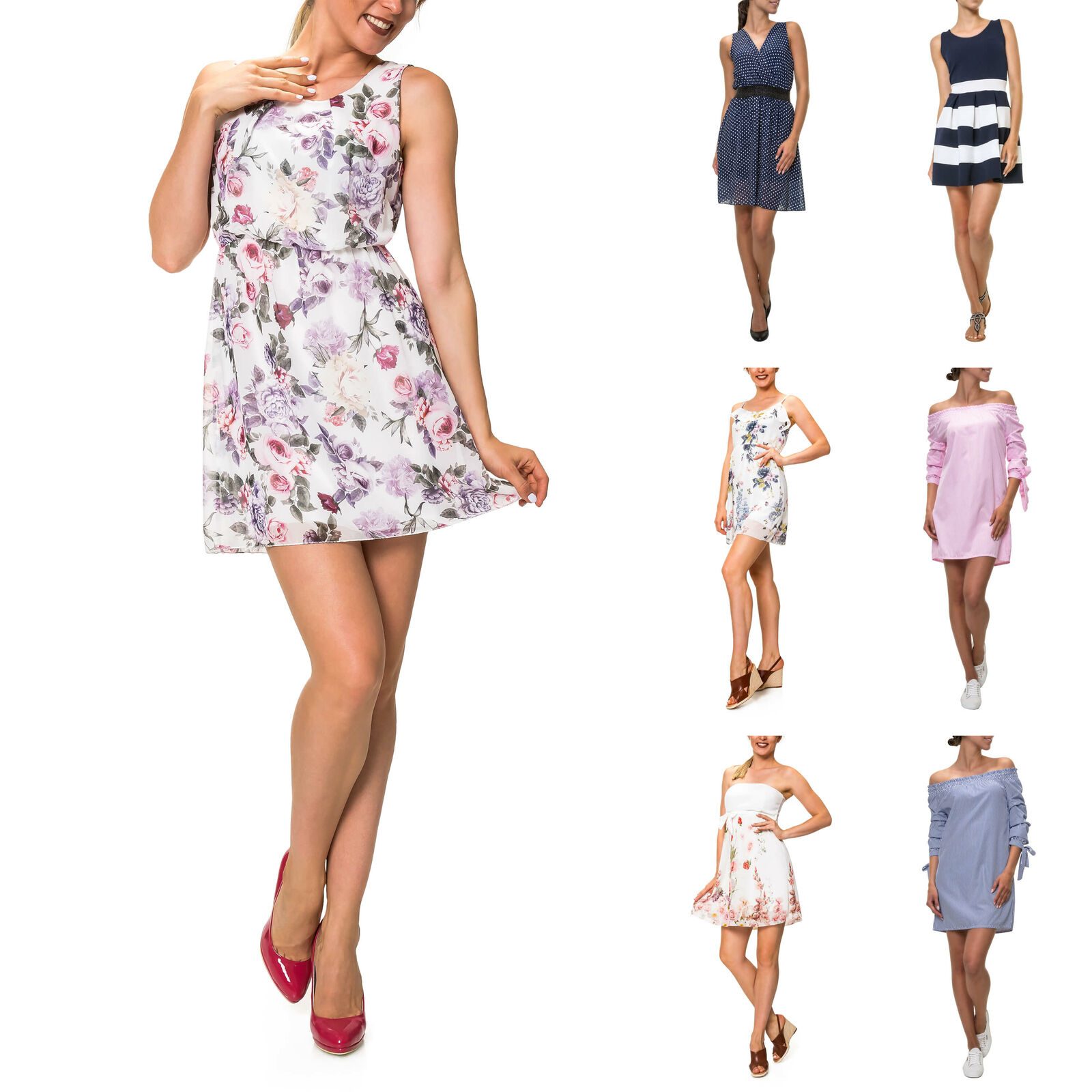 Hachiro Damen Kleid Sommerkleid Strandkleid Freizeitkleid Dress Cute Longshirt %