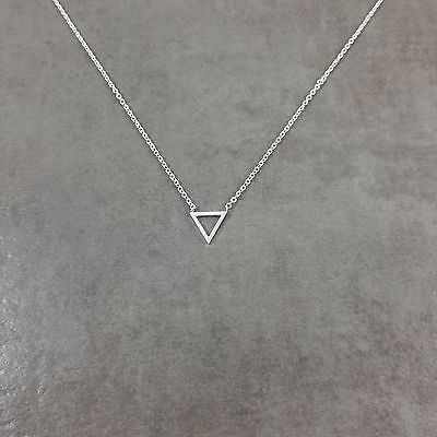 Triangle SILVER Plated Necklace Gift Box Geometric Shape Modern Trendy (Triangle Gift)