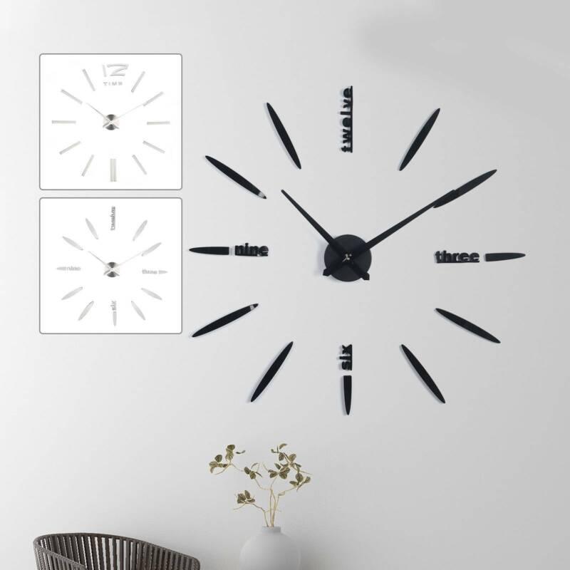 Home Decoration - 3D DIY Large Roman Numerals Luxury Mirror Wall Clock Sticker Home Office Decor