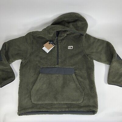 New The North Face Campshire Pullover Hoodie Green Sherpa Fleece Relaxed Fit Men