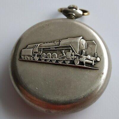 Train Locomotive Soviet russian cupronickel pocket watch Molnija USSR serviced