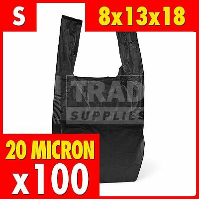 100 x Small Black Plastic Vest Carrier Bags Supermarket 8x13x18in Bottle Bag