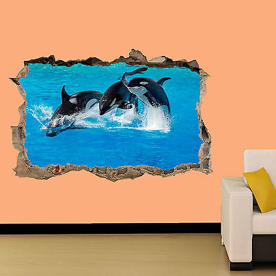 KILLER WHALE ORCA IN OCEAN WALL STICKER ROOM DECORATION DECAL MURAL A CLASS - Decorate A Classroom