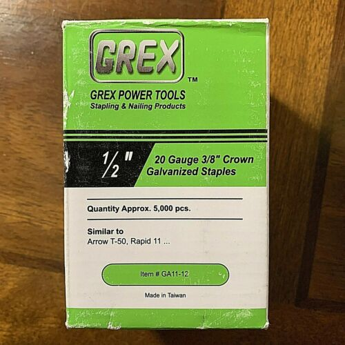 "GREX~Power tools Box of 1/2"" 20 Gauge 3/8"" crown galvanized staples 5000 PC"