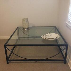 Large Wrought Iron & Glass Square Coffee Table Willoughby Willoughby Area Preview