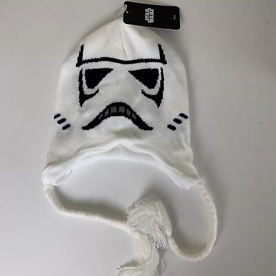 Star Wars Stormtrooper Disney White Knit Adult Winter Hat Beanie Tassels Fleece