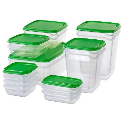 Nuevo Ikea Pruta Plástico Comida Contenedores Conjunto De 17 Piezas Verde Caja