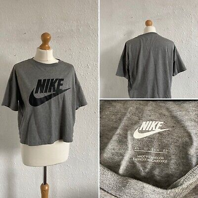 Vintage Retro Style Grey Nike Cropped T Shirt Top Size M