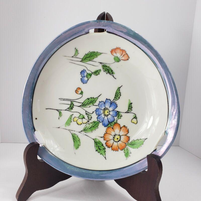 Vintage Japan Serving Plate Blue Luster Floral Design Triangular Shape