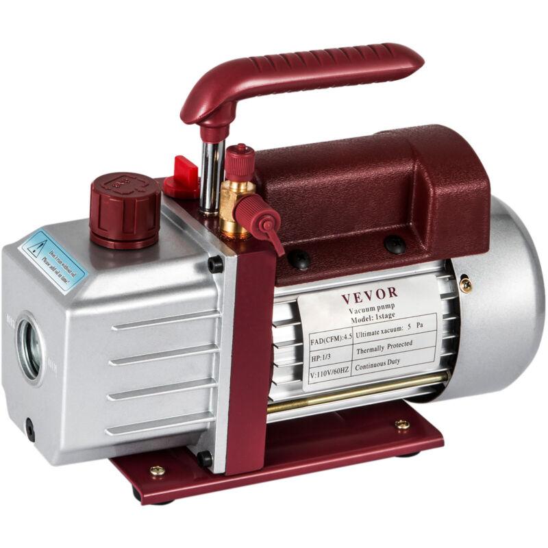 4.5CFM Single-Stage Rotary Vacuum Pump Wine Degassing HVAC/Auto AC 4.5CFM 1/3HP