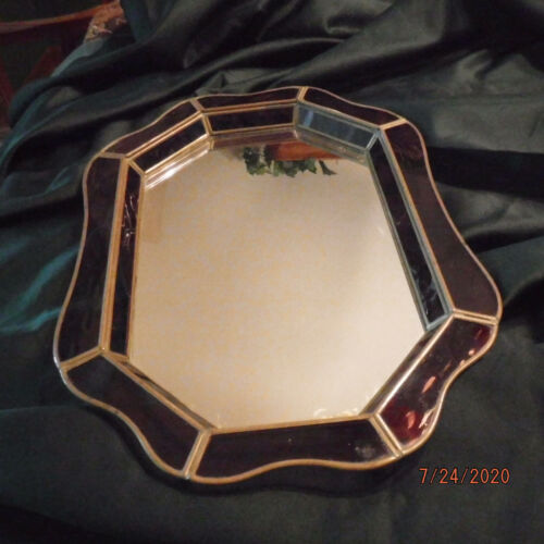 Vintage Stained Glass / Brass Vanity / Mirrored Tray