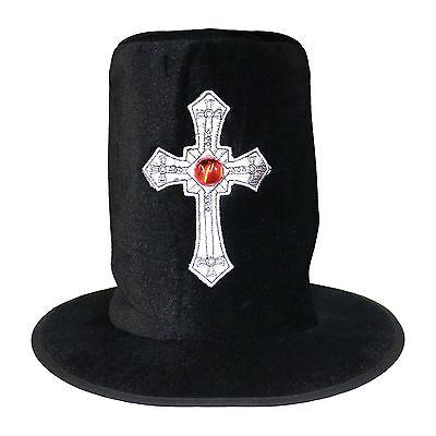 Black Velvet Halloween Gothic Gravedigger Undertaker Silver Cross Top (Gothic Velvet Top Hat)