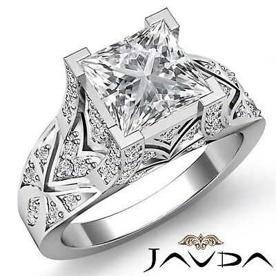 3.78ctw Antique Pave Princess Diamond  Engagement Ring GIA F-VS1 White Gold