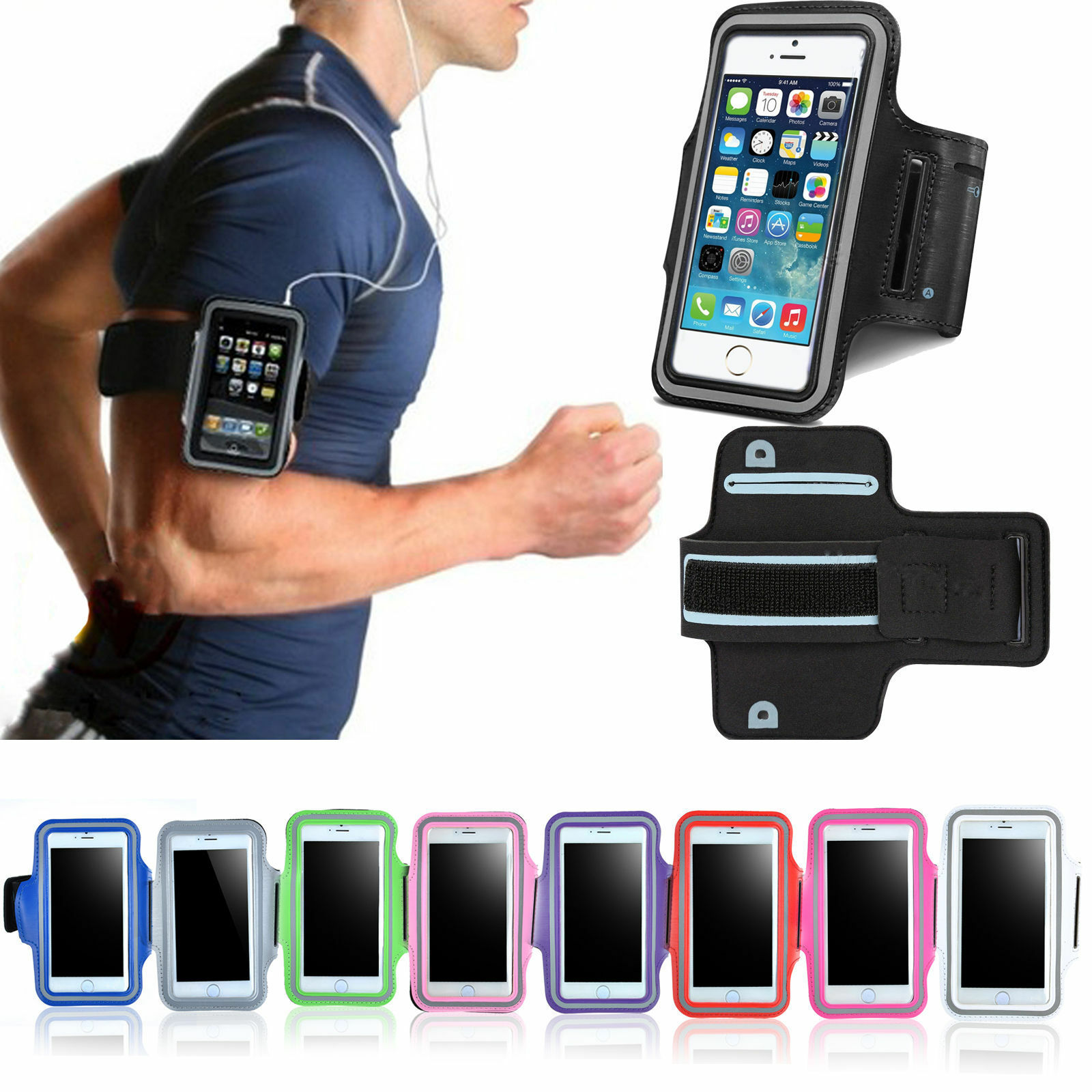 on sale cb223 3a849 Details about Fr iPhone 8 7 Plus 6 6S Armband Case Sports GYM Running  Exercise Arm Band Holder