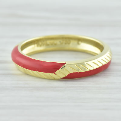 New Hidalgo Red Enamel Geometric Ring 18k Yellow Gold Size 6.75 Stackable
