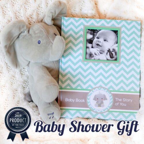 Newborn Journal Baby First Year Book Album BabyShower New Parents Gift elephant
