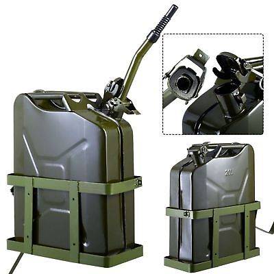 Jerry Can 5gallon 20l Gas Gasoline Fuel Nato Military Metal Steal Tank W Holder
