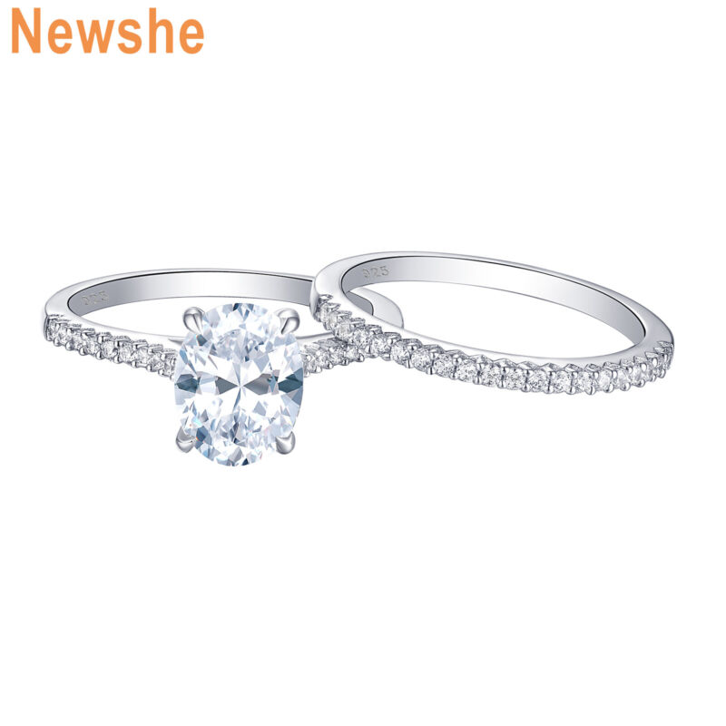 Newshe Engagement Rings For Women Wedding Ring Set Sterling Silver Oval Aaaa Cz