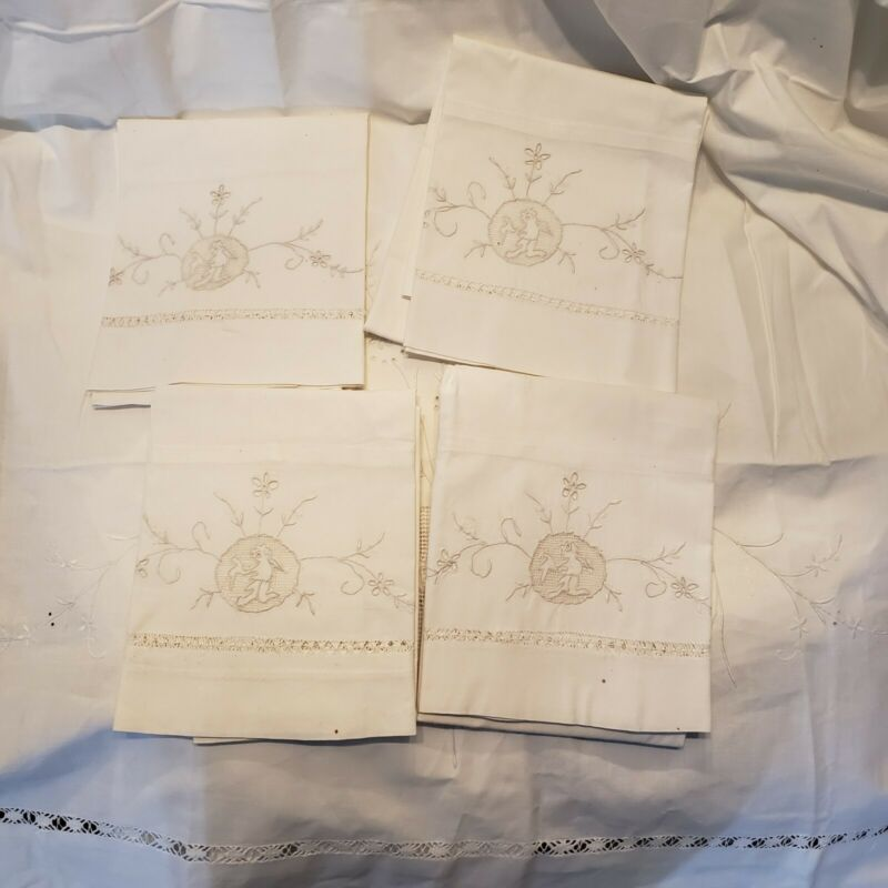 Antique French Linen Sheet w/  4 Pillowcases Embroidery Cherub Angel Lace King