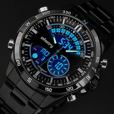 Chronograph Wrist Watch - 🎁INFANTRY Mens LED Digital Quartz Wrist Watch Chronograph Black Stainless Steel